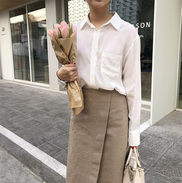 silky blouse (ivory)